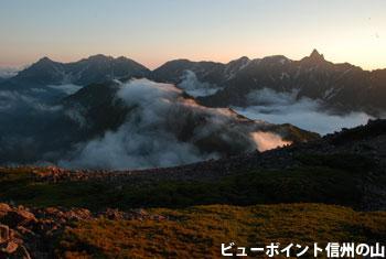 槍ヶ岳の夕景色