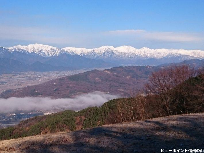 朝霧と後立山連峰