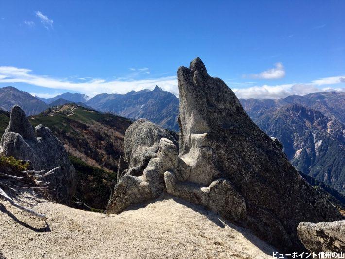 イルカ岩と槍ヶ岳